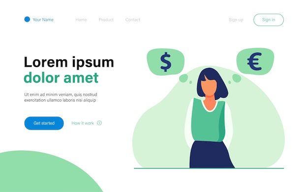 Woman standing and thinking about currency rate landing page template