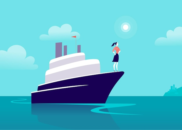 Woman standing on top of a boat illustration