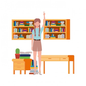 Woman standing with bookshelf of wooden and books