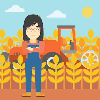 Woman standing with combine