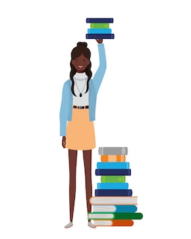 Woman standing with stack of books