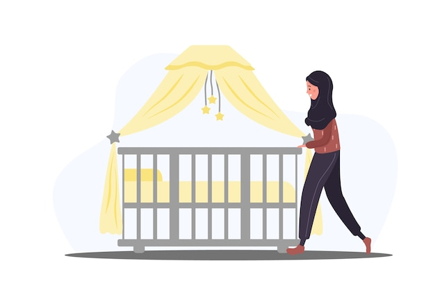 Woman stands at the crib in flat design