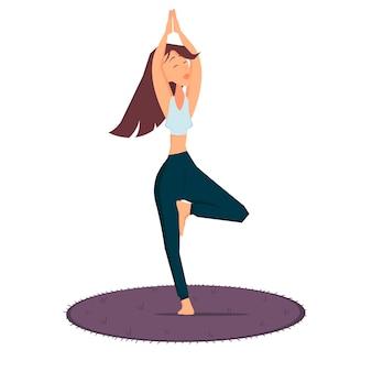 Женщина стоит в позе баланса занятия спортом цветные векторные иллюстрации шаржа