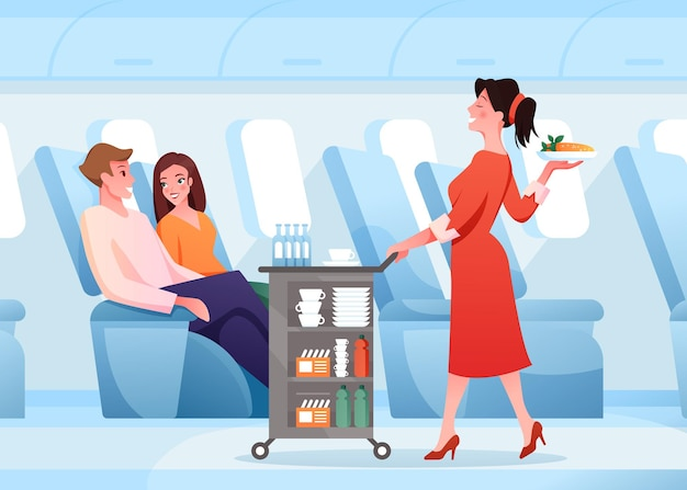 Woman stewardess working, serving passenger couple people in air plane board interior, food drink