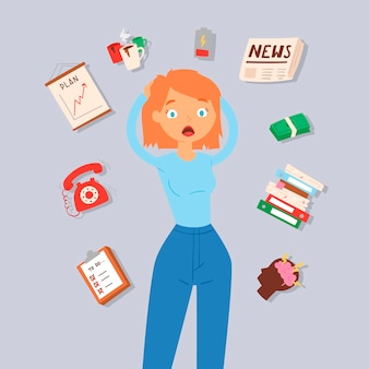 Woman in stress and panic illustration.