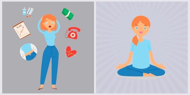 Woman in stress and panic vs relax yogi girl calm illustration.