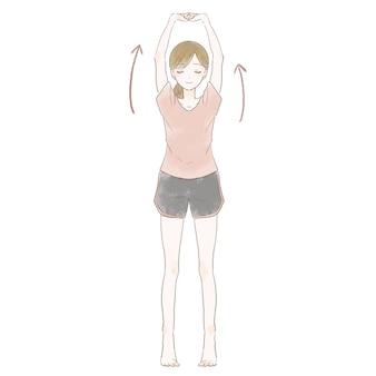 背骨を伸ばす女性。白い背景に。