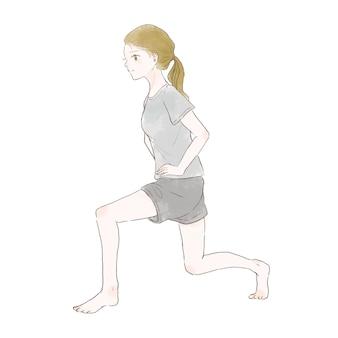 アキレス腱を伸ばすために伸ばす女性。白い背景に。