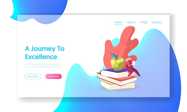 Woman student prepare for exam, gaining knowledge landing page template.