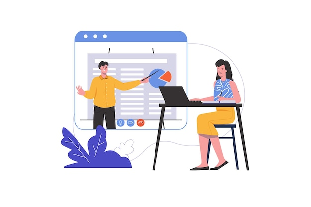 Woman studies at home using laptop and watches video lecture. student learns lesson on internet, people scene isolated. online education and courses concept. vector illustration in flat minimal design