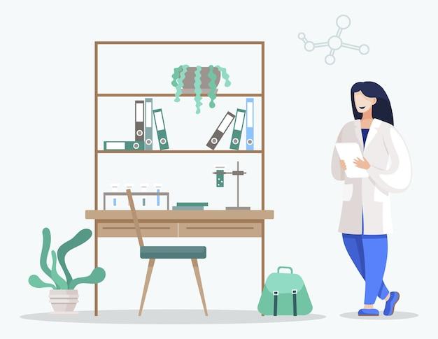 大学で化学科学を勉強している女性
