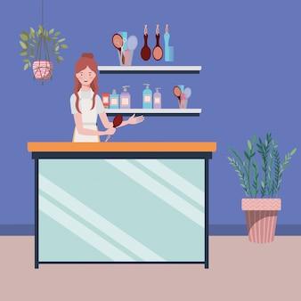 Женщина-стилист работает в салоне на рабочем месте сцены