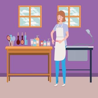 Woman stylist working in salon workplace scene
