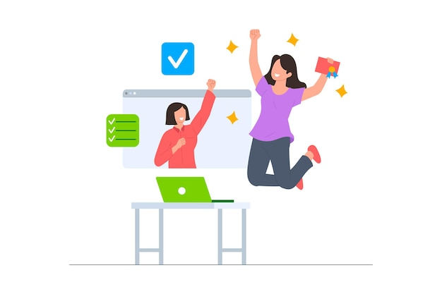 A woman success in the online course illustration scene