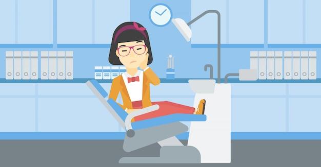 Woman suffering in dental chair.