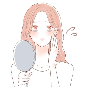 Woman suffering from bear under eyes due to poor bloodsing. on a white background. cute and simple art style.