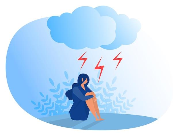 うつ病に苦しむ女性。不安、感情障害のコンセプト