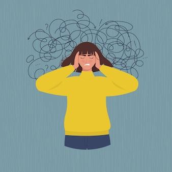 우울증, 스트레스로 고통받는 여성. 플랫 스타일로
