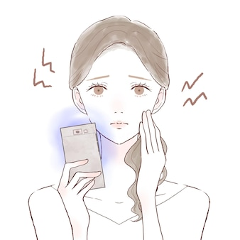 A woman suffering from eye strain and vision loss due to blue light on her smartphone. on a white background.