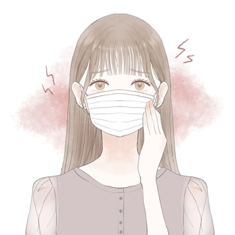 A woman suffering from friction and inflammation caused by wearing a mask. on a white background.