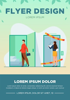 Woman suffering from gender discrimination. man entering by open door flat vector illustration. career, inequality, equal rights concept