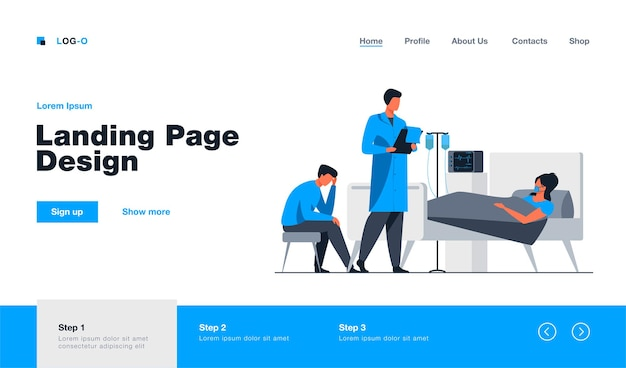 Woman suffering from hard disease landing page template