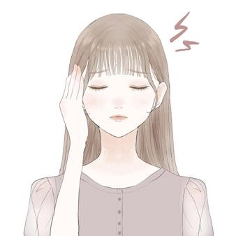 頭痛に苦しんでいる女性。白い背景に。