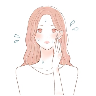A woman suffering from hyperperspirat disease. on a white background. cute and simple art style.