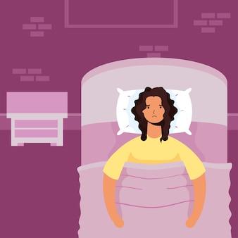 불면증 캐릭터 일러스트로 고통받는 여성