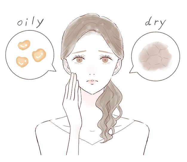 混合肌に苦しんでいる女性。白い背景に。