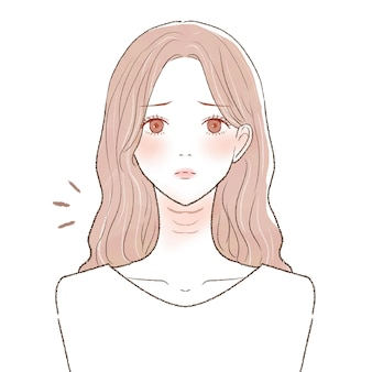 首のしわに苦しんでいる女性。白い背景に。