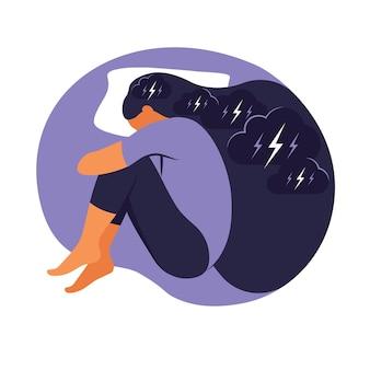 여자는 불면증 스트레스로 고통받습니다. 그녀는 침대에 누워 생각합니다. 우울증, 불면증, 좌절, 외로움, 문제의 개념 삽화. 평면 벡터입니다.
