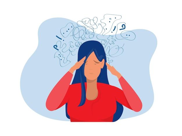 Женщина страдает от навязчивых мыслей, депрессии, психического стресса, панического расстройства, иллюстрации