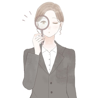 Woman in suit checking with loupe. on white background.