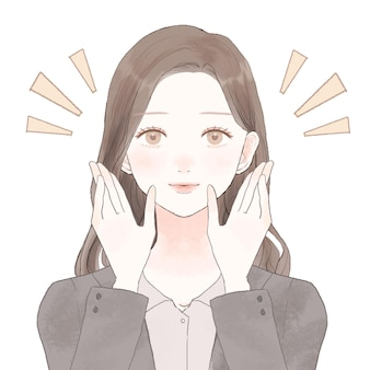 Woman in suit to review. on a white background. cute and simple art style.