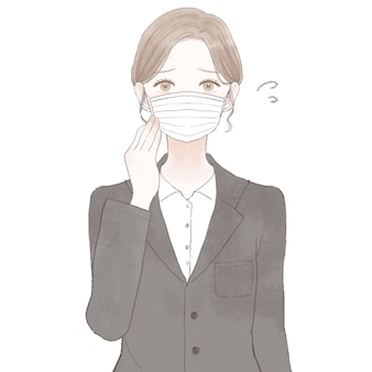Woman in suit troubled by wearing a mask. on white background.