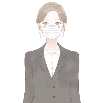 Woman in suit wearing nonwoven mask. on white background.