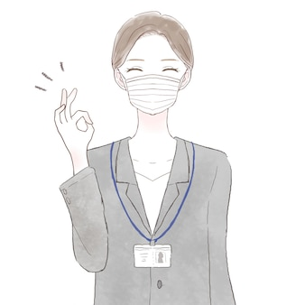 Woman in suit wearing nonwoven mask with ok sign. on white background.