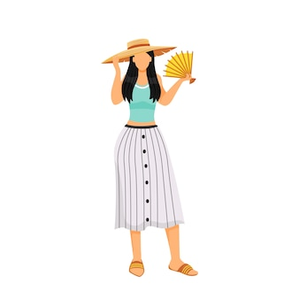 Woman in summer outfit flat design color faceless character