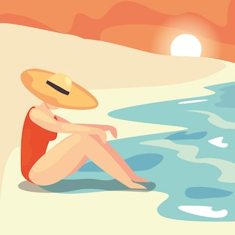 Woman summer time vacations