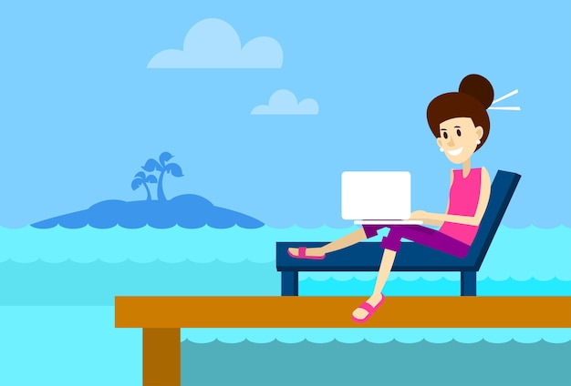 Woman on sunbed using laptop