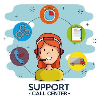 Woman support call center phone service