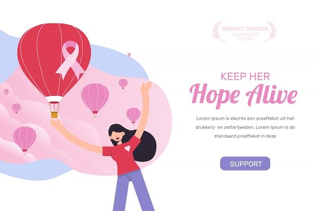Женщина, поддерживающая целевую страницу месяца осведомленности о раке