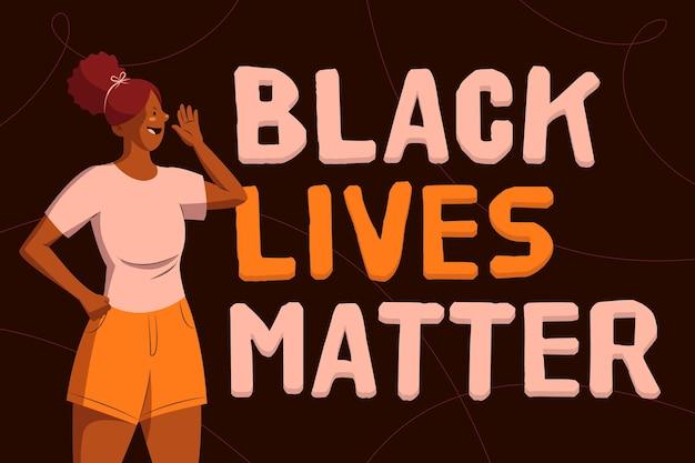 흑인 생활 문제 운동을 지원하는 여자 일러스트