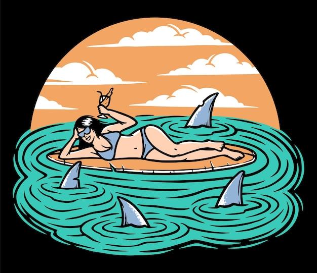 Серфер женщина, лежа на доске для серфинга