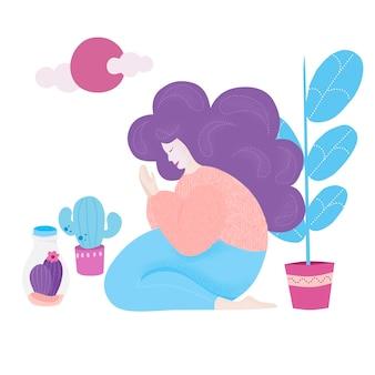 Женщина в окружении комнатных растений. абстрактный рисунок девушки читает молитву