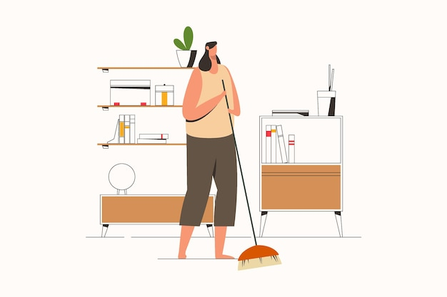 빗자루 평면 벡터 일러스트와 함께 집을 청소하는 여자