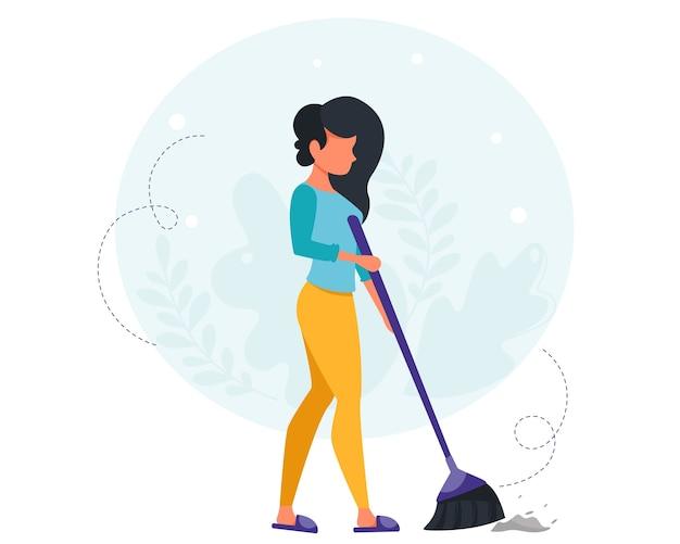 바닥을 청소하는 여자. 집 청소 개념입니다. 집을 청소하는 주부. 플랫 스타일로.