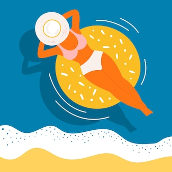 Woman on swimming rubber ring vector concept. top view of a tanned girl with a hat on a blue water wave background. relaxing, remote working character on the summer sea, beach, pool.