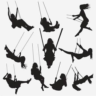 Woman swing silhouettes